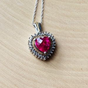 10k Gold/.925 Sterling Pink Topaz Heart Necklace